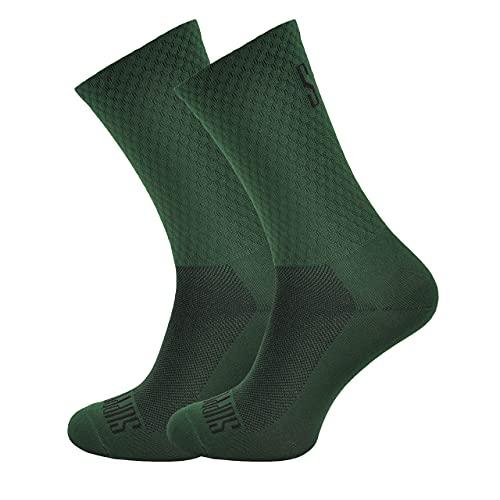 SUPPORT calzini da ciclismo da uomo tecnologia traspirante antiscivolo accessori monocolore unisex per escursionismo, arrampicata, per andare in bicicletta, Green's 42-44 EU
