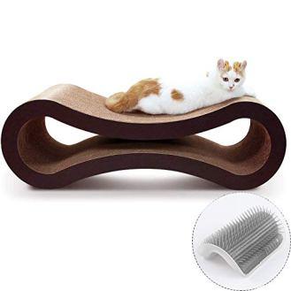 ScratchMe-Cat-Scratching-Post-Lounge-Bed-Cat-Scratcher-Cardboard-Board-Pads-Catnip-and-Groomer-Brush-Infinity-Shape