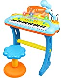 Electronic 37-Key Toy Piano Keyboard for Kids with Real Working Microphone, Colorful Lights and Stool