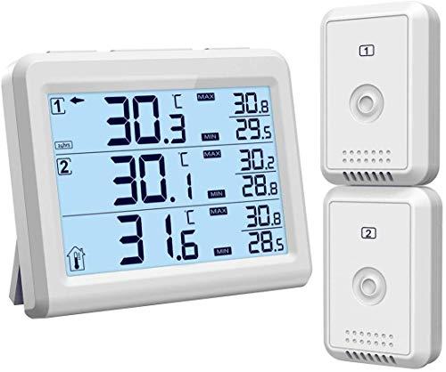 [Upgrade] ORIA Termometro Digitale per Frigorifero, Interno/Esterno Termometro con 2 Sensori Senza...