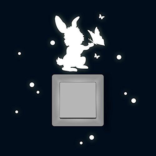 Lichtschaltertattoo Lichtschalteraufkleber Lichtschaltersticker Wandtattoo Wandbild Hase mit Schmetterlingen und Punkten fluoreszierend M1884