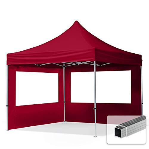 TOOLPORT Faltpavillon Faltzelt 3x3m - 2 Seitenteile ALU Pavillon Partyzelt rot Dach 100{20887b609b1dbbeca859287402d2a72cf8552893e3d215cb131e28195f20da6d} WASSERDICHT