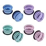 ZS 4 Pairs Glass Ear Gauges Mushroom Single Flare Plugs Tunnels Ear Lobe Stretching Piercing 4G-5/8 inches (Gauge=00g(10mm))