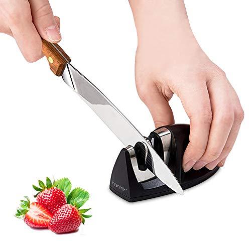 Hanmir Aiguiseur de Cuisine Professionnel 2 en 1 Manuel Aiguiseur pour Couteaux en Acier Inoxydable et céramique de Toutes Tailles,Base...