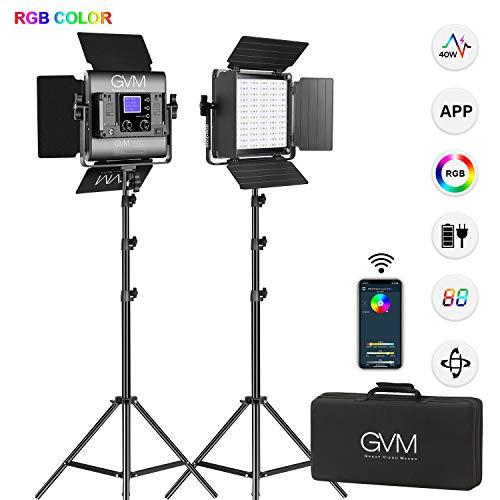 Luce video LED RGB a GVM 800D-2, CRI 97+, 3200K ~ 5600K, sistema di controllo intelligente APP, pu...