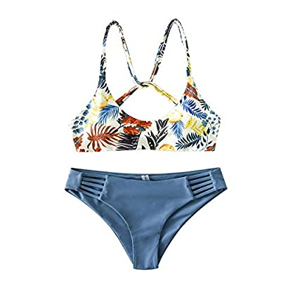 Top features painterly leaf with a tropical touch design, high on our vacation wishlist. Strapping details at the back and hips create a unique and flattering silhouette. Material: Polyester,Spandex. Quick-drying, Pro-skin, High flexibility and elast...