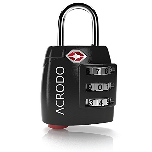 Acrodo acrodo_tsacomblock_Black_Single All Metal Combination Padlock with Inspection Alert, TSA Approved Suitcase Lock