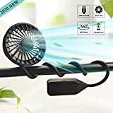 Hand Free Neck Fan USB Rechargeable Portable Sport Fan with 3 Level Air Flow Mini Stroller Fan and Baby Fan with Flexible Stand, 360°Rotation Camping Fan for Stroller/Bike/Camping/Gym (Black)