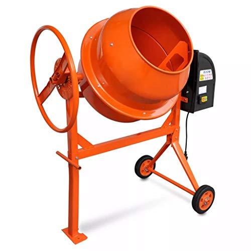 vidaXL Bétonnière Électrique en Acier 140L 650W Orange Mélangeur Béton Ciment
