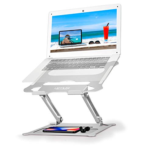 """Urmust Laptop Notebook Stand Holder, Ergonomic Adjustable Ultrabook Stand Riser Portable with Mouse Pad Compatible with MacBook Air Pro, Dell, HP, Lenovo Light Weight Aluminum Up to 17""""(Silver)"""