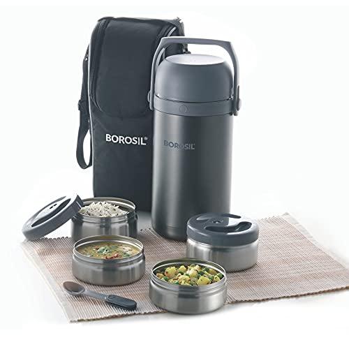 Borosil - Hot-N-Fresh Stainless Steel Insulated Lunch Box, Set of 4 (2pcs 350 ml + 2pcs 420 ml),...