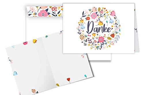Friendly Fox Dankeskarten - 12 Dankeschön Karten mit Blumen Motiv - Klappkarte blanko mit Umschlag - Faltkarten Set mit Umschlägen DIN A6- mit Karten Danke sagen