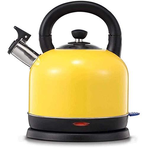 KEDUODUO 304 Edelstahl Leichte Wasserkocher-Teekanne, elektrische Heizung Automatisches Ausschalten Große Kapazität mit und Anti-Branding-Griff,Gelb