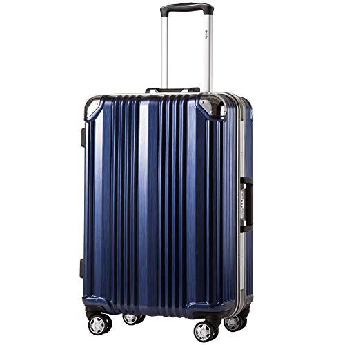 COOLIFE-Hartschalen Fashion Koffer • Alu Rahmen • Polykarbonat Material • Reisegepäck Reisetrolley Trolley • mit TSA-Schloss und 4-Doppelrollen, die 360° drehbar sind (Blau, Großer Koffer)