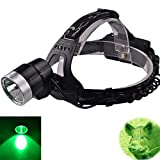 WindFire New Green Light Hunting Headlamp CREE LED Long Range LED Hunting Light Waterproof Night Hunting Headlamp for Coyote,Predator,Hog Hunting with Batteries & Charger Included