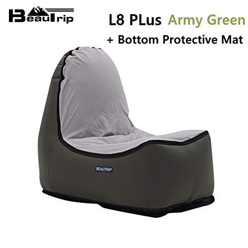 Bureze Aufblasbares Sitzsack für drinnen und draußen, für Wohnzimmer, Camping, Wandern, Angeln, Gartensofa L8plus Armyg W Mat