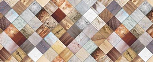 HomeLife Tappeto Cucina Antiscivolo Lavabile in Vinile 52X120 Made in Italy | Passatoia Antimacchia in PVC Interni ed Esterni Stampa Pavimento Parquet | Tappeti Runner Lungo in Gomma [120 cm]