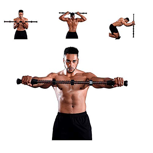 Fitlaya Fitness Home Gym Upper Body Workout Equipment-Chest Bicep Triceps Blaster, Shoulder Back and Arm Builder, Adjustable Spring Exercise bar(70-180lbs)