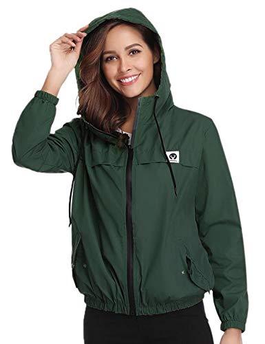 Aibrou Damen Leichte Regenjacke wasserdicht Kurze Windjacke mit Kapuze für den Außenbereich