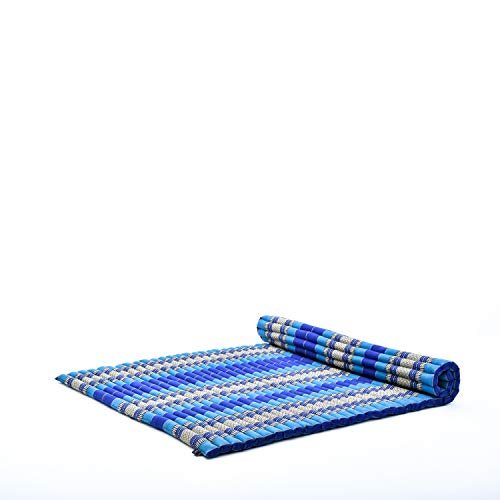 Leewadee materassino thailandese Arrotolabile, XL: Grande Tappeto per Dormire, Spessa stuoia da Massaggio, Strumento Ecologico in kapok, 200 x 145 cm, Blu