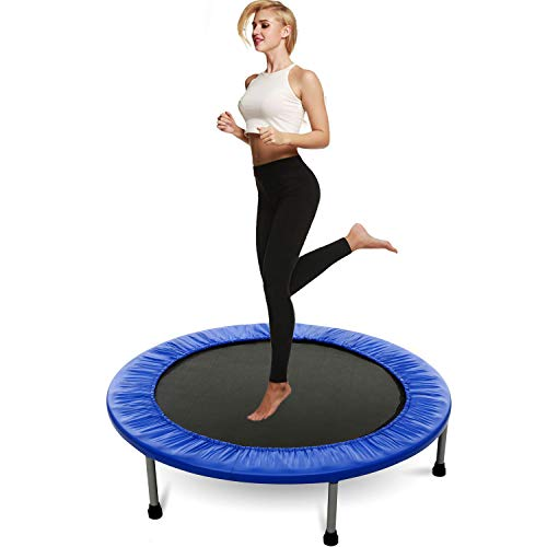 Hosmat Mini Exercise Trampoline for Adults or Kids - Indoor Fitness Rebounder Trampoline with Safety Pad | Max. Load 200LBS (Blue)