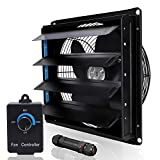 SAILFLO Shutter Exhaust Fan 10 Inch Wall Mounted Heavy Duty Aluminum with Power Cord Kit Speed Controller,Vent Fan for Greenhouses Shop Home Attic Garage Shed Ventilation,Black
