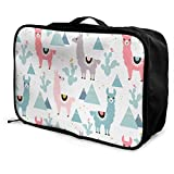 Qurbet Bolsas de Viaje, Llama,Cactus and Mountains Pattern Overnight Carry On Luggage Waterproof Fashion Travel Bag Lightweight Suitcases