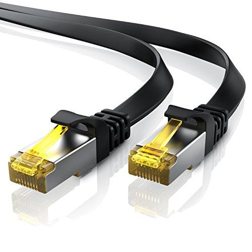 0,5m Cavo di Rete Cat 7 Piatto - Cavo LAN Ethernet Gigabit 10000 Mbit s Piatto - Cavo Patch - Cavo a schermatura U FTP PIMF con connettori RJ45 - Router Modem Access Point Switch - Nero