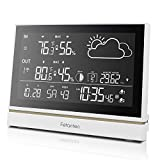Wireless Weather Station with Outdoor Sensor, Indoor and Outdoor Thermometer Hygrometer 7.5-Inch...