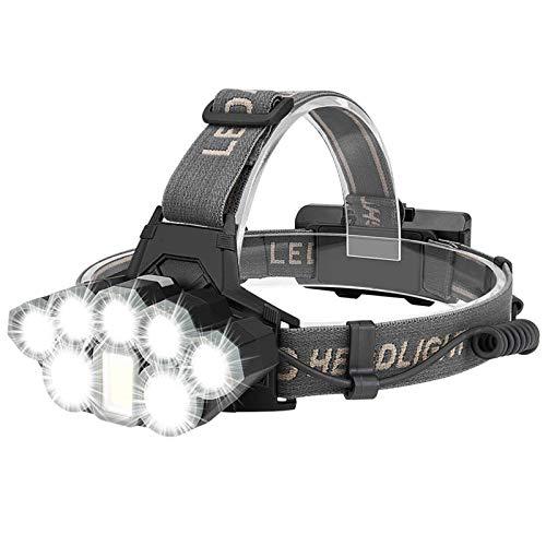 Coquimbo Lampada Frontale LED, 2000LM Lampada da Testa USB Ricaricabile con 8 Modalit di Illuminazione, Torcia Frontale per Pesca, Campeggio, Arrampicata, Ciclismo (2x18650 batterie incluso)