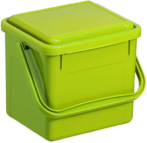 Rotho Bio Komposteimer 5l mit Deckel für die Küche, Kunststoff (PP) BPA-frei, grün, 5l (21,0 x 20,0 x 18,0 cm)