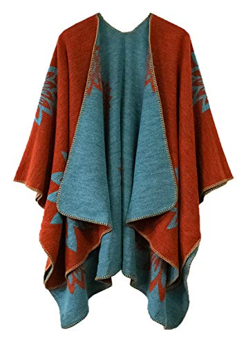 Urban CoCo Women's Color Block Shawl Wrap Open Front Poncho...