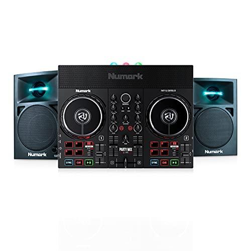 Numark Party Mix Live + N-Wave 360 - Console DJ, Set da DJ per adulti e ragazzi con luci da discoteca, casse per DJ e mixer con Serato DJ Lite + Casse PC Monitor da Tavolo Full Range