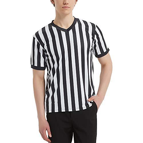 TopTie Artículos Deportivos Camiseta Oficial de árbitro con Cuello en V y Rayas Blancas y Negras para Hombre-S