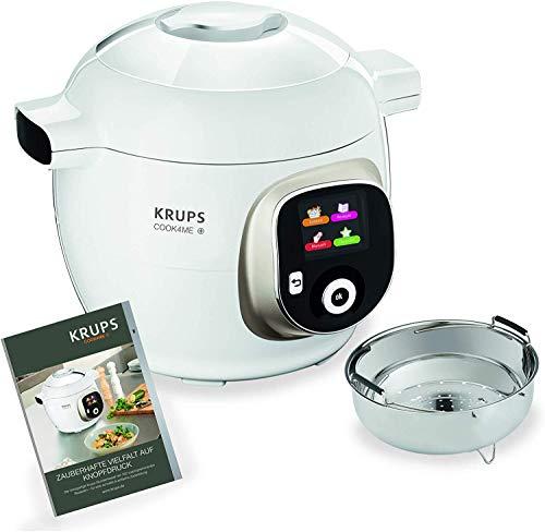 Krups CZ7101 Cook4Me+ Multikocher (1600 Watt, elektrischer Schnellkochtopf, inkl. Rezeptbuch, Garen unter Druck für schnelle und frische Gerichte, 6 Liter Fassungsvermögen) weiß/grau