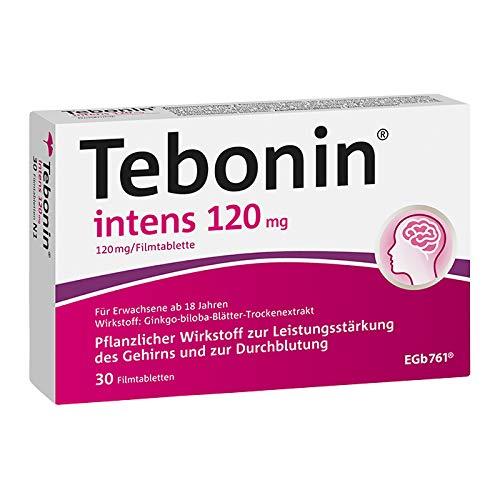 Tebonin intens 120mg bei akutem und chronischem Tinnitus* – Pflanzliches Arzneimittel mit Ginkgo-Spezialextrakt EGb 761(R) – 30 Filmtabletten