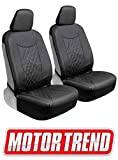 Motor Trend M244 Cross-Stitch PU Leather Faux Car Seat Covers, Front Only-Luxurious Protection for Auto Truck Van and SUV