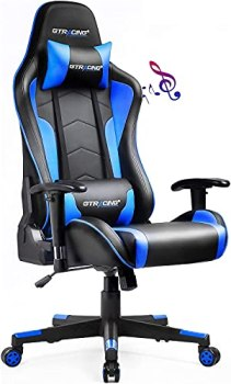 Gtracing Gaming Chair with Bluetooth Speakers Music Video Game Chair Audio Ergonomic Design Heavy Duty Office Computer Desk Chair Gt890M,Blue