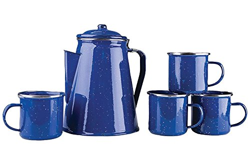 Stansport Enamel 8 Cup Coffee Pot with Percolator and 12 Ounce Mugs