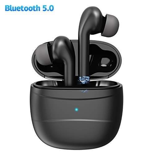 Wireless Earbuds,Coobetter Bluetooth Earphones Noise Canceling Headset V5.0 Stereo Waterproof Headphones Sport Bluetooth Headphones in Ear with Mini Charging Case and Integrated Microphone(Black)