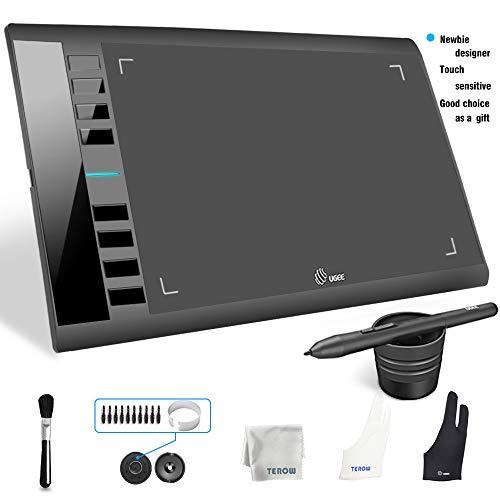 Graphics Tablet M708 UGEE 10 x 6 inch Large Active Area Drawing Tablet with 8 Hot Keys, 8192 Levels Pen, UGEE M708 Graphic Tablets for Paint, Digital Art Creation Sketch