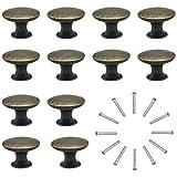 Natuce 12 Piezas Pomos y Tiradores de Muebles 30mm Vintage Bronce Pomos para Puertas/Armarios de...