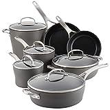 Anolon 81167 Allure Hard Anodized Nonstick Cookware Pots and Pans Set, 12 Piece, Dark Gray