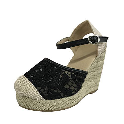 Minetom Mujer Sandalias de Plataforma Tacón Alto Cuña Elegante Encaje Alpargatas Espadrilles Hebilla Chancletas Zapatillas Confort Transpirable Zapatos de Verano Negro 34 EU