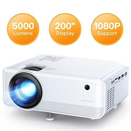 APEMAN Mini Beamer LC550, 1080P Unterstützt Handybeamer Projektor 720P Native LCD 50000 Stunden, HDMI*2/TF/USB Heimkino Fußball Spiel Spaß am Erkunden Leitfaden