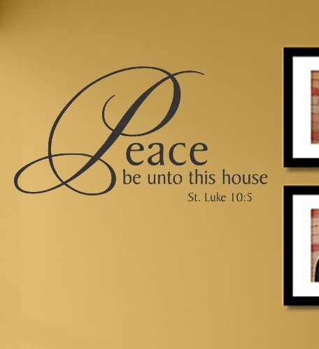Peace be Unto This House Vinyl Wall Decals Quotes Sayings Words Art Decor Lettering Vinyl Wall Art Inspirational Uplifting