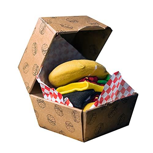 soxo calze divertenti colorate per Donna Uomo Hamburger | 1 paia | 35-45 EU |socks confezione alle scatolette | calzini alti in cotone fantasia e divertenti