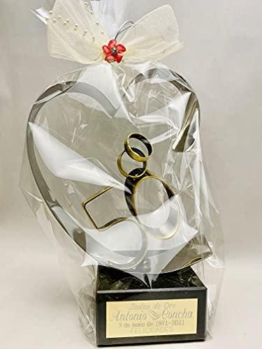 Regalo para bodas de oro GRABADO figura corazón 50 aniversario regalos PERSONALIZADOS