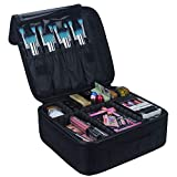 Relavel Travel Makeup Train Case Makeup Cosmetic Case Organizer Portable Artist Storage Bag with Adjustable Dividers for Cosmetics Makeup Brushes Toiletry Jewelry Digital Accessories Black