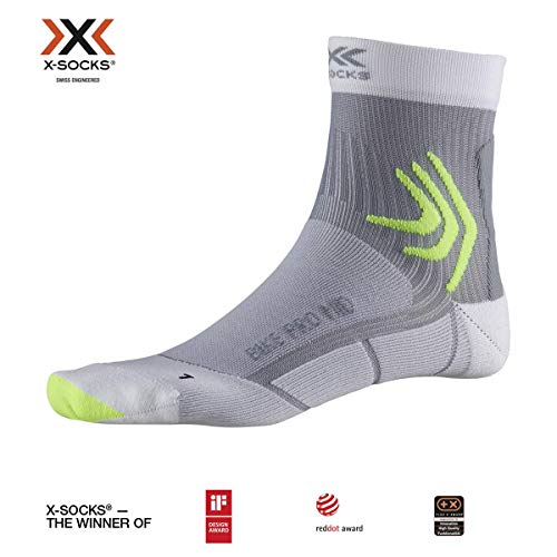 X-Socks Bike PRO Mid, Calzini da Ciclismo Unisex-Adulto, Arctic White/Dolomite Grey, 35-38